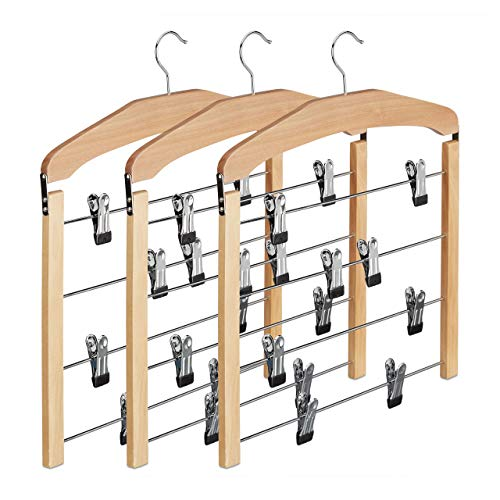 Relaxdays Rockbügel 3er Set, Hosenbügel Holz, 360° drehbarer Haken, Kleiderbügel rutschfest, HBT: 45,5x39x2,5 cm, Natur, Pack, 3-Einheiten