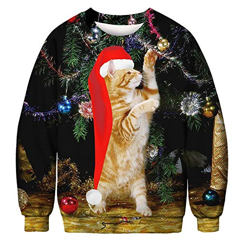 FRAUIT Heren 3D kerstkattendruk gebreide jas pullover unisex heren dames kerst grappig sweatshirt lange mouwen T-shirt kerstbel