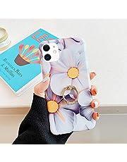 Surakey Funda para iPhone 11,Ultra Fina Suave TPU Gel Carcasa [Ultra Hybrid] Diseño de Flores Caso con Anillo Anti-Choques y Anti-Arañazos Protección Carcasa para iPhone 11,Flores Grises