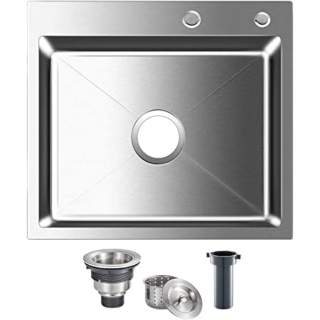 Rovogo Drop In 21 6 X 17 7 Inch Stainless Steel Single Bowl 2 Hole Kitchen Sink Top Mount Handmade Bar Prep Sink With Drain Kit Amazon Com