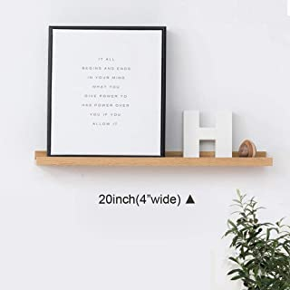 INMAN Floating Shelves Display Wooden Wall Mount Ledge Shelf Picture Record/Album Photo Ledge Small Hanging Kids Wall Bookshelf for Bedroom Kitchen Office Home Décor (Oak, 20