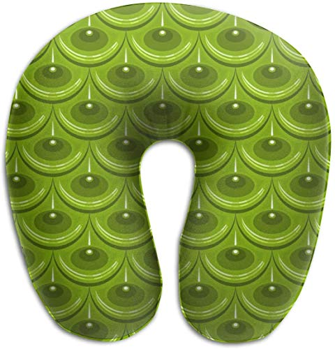 Hdadwy Memory Foam Neck Pillow Green River Fish Scales U-Shape Travel Pillow Ergonomic Contoured Design Washable Cover for Airplane Train Car Bus Office