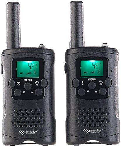 simvalley communications Walkie Talkie: 2er-Set PMR-Funkgeräte mit VOX, bis 10 km Reichweite, LED-Taschenlampe (VOX Funktion Walkie Talkie)
