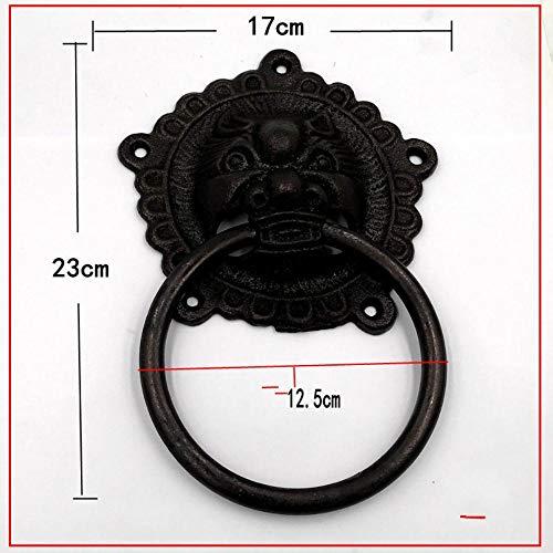 Qingsb Chinses Aldabas de Puerta de Madera Antiguas Aldabas con Cabeza de león Tiradores de Hierro Fundido Anillo Negro Tiradores de manija Aldaba de Puerta 15cm 17cm, 15cm