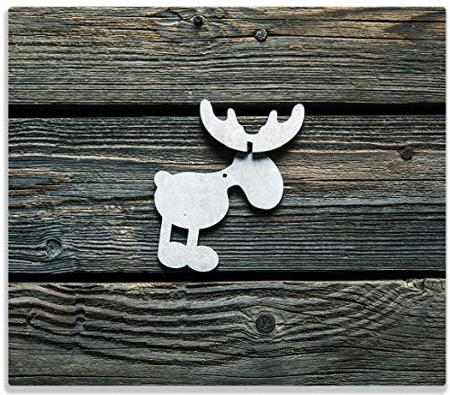 Wallario Herdabdeckplatte/Spritzschutz aus Glas, 1-teilig, 60x52cm, für Ceran- und Induktionsherde, Elch Symbol in weiß, vor dunklem Holz