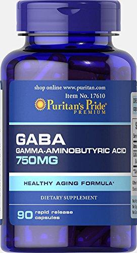 Puritan's Pride GABA (Gamma Aminobutyric Acid) 750 mg (90 Kapseln)