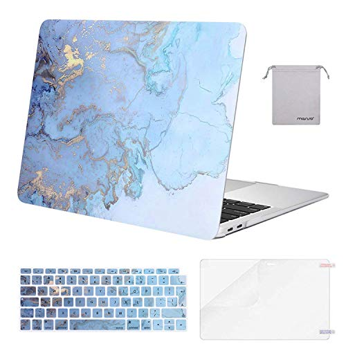 MOSISO MacBook Air 13 inch Case 2020 2019 2018 A2337 M1 A2179 A1932, Plastic Hard Shell&Keyboard Cover&Screen Protector&Storage Bag Compatible with MacBook Air 13 inch Retina, Water Blue Marble