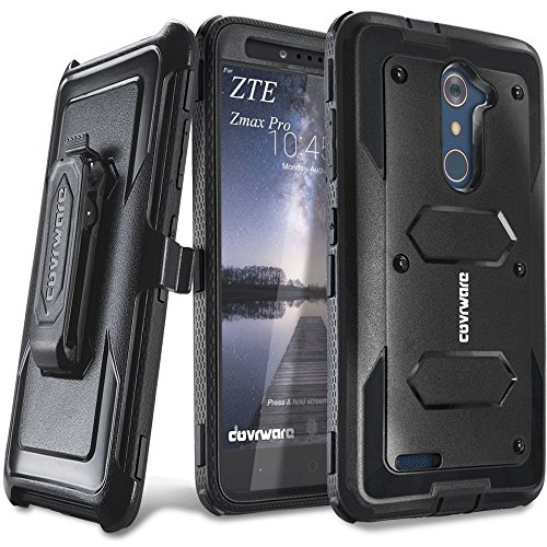 COVRWARE [Aegis Series] case Compatible with ZTE ZMAX PRO/ZTE Carry, with Built-in [Screen Protector] Heavy Duty Full-Body Rugged Holster Armor Case [Belt Swivel Clip][Kickstand], Black