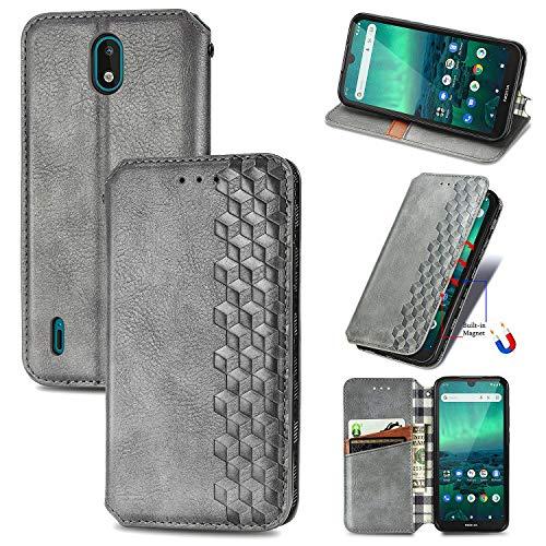 Snow Color Nokia 1.3 Hülle, Premium Leder Tasche Flip Wallet Case [Standfunktion] [Kartenfächern] PU-Leder Schutzhülle Brieftasche Handyhülle für Nokia 1.3 - COSD020454 Silber