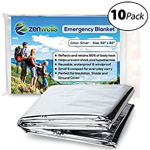 Zenwells Emergency Blanket Pack of 10 – Mylar Thermal Solar Blankets for Maximum Protection – Best for Your Survival Kit, Winter Car Kits, Outdoors or First Aid