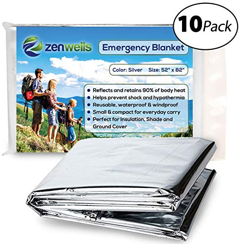 Zenwells Emergency Blankets Pack of 10 - Mylar Thermal Solar Blankets for Maximum Protection - Best for Your Survival Kit, Winter Car Kits, Outdoors or First Aid