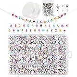 I LOVE MOM Redondas Alfabeto Cuentas Kit 1150pzs AcríLico Abalorios para Hacer Pulseras Cuentas para Collares 'A-Z' Abalorios Letras DIY Manualidades Bolitas Set(Letras de colores)