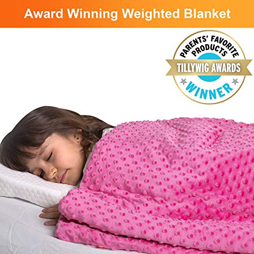 """Super Soft 7 Lbs Weighted Blanket for Kids with Removable Cover - 41"""" x 60"""" Children Heavy Blanket for Girls Between 60-80 lbs - Kids Weighted Blankets"""