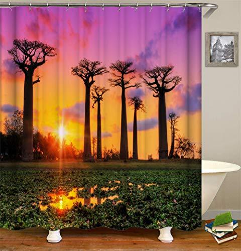 LGY Duschvorhang 180X180Cm. Digital Gedruckte Bilder Sind Lebendiger. Wasserdichter Stoff. Enthält 12 Haken. Haus Dekoration.Natürliche Landschaft. Brotfruchtbaum.