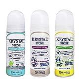 Desodorante KRYSTAL STONE Roll On Tripack - NEUTRO con Aloe Vera, LAVANDA y LEMONGRASS - Sin Parabenos, Sin Clorhidrato de Aluminio, Sin Alcohol - HIPOALERGÉNICO - VEGANO - No mancha la ropa - Ideal para toda la FAMILIA - 90 ML c/u (Paquete de 3 Unidades)