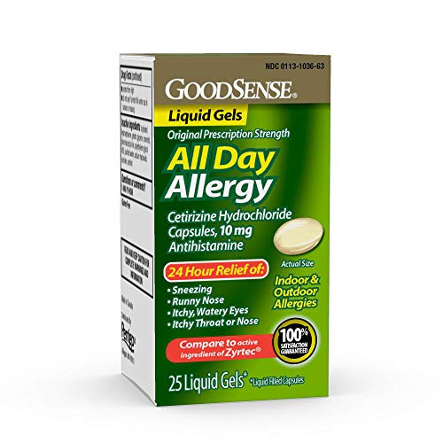 GoodSense All Day Allergy, Cetirizine HCl Tablets 10 mg, Antihistamine for Allergy Relief, 25 Count