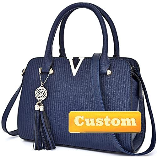 Nombre Personalizada Bolsa DE LADRES Bolsa Bolsa DE Cuero DE Cuero para Las Mujeres DE LA Correa DE LA Mujer DE LA Mujer (Color : Blue, Size : One Size)