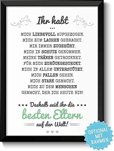 Beste Eltern Bild optional mit Holz-Rahmen und Namen personalisiert Geschenk Geschenkidee Danke sagen Dankeschön Mama Papa