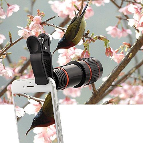 Topist スマートフォン用カメラレンズ  12倍 簡単装着 望遠レンズ クリップ式 挟み iPhone6 iPhone6 Plus iPhone5s iPad タブレットPC対応 無ケラレ クリップ固定