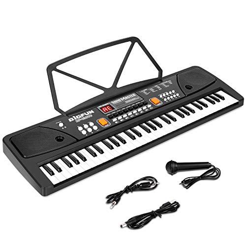 M SANMERSEN Piano para niños con micrófono, teclado para principiantes Teclado electrónico 61 teclas con altavoces duales / pantalla LED / AUX-in Jack / Music Stand Piano Juguetes para niños niñas de 3 a 12 años