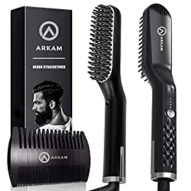 - 51qjl2KizHL - Arkam Premium Beard Straightener for Men – Cutting Edge Ionic Beard Straightening Comb for Home & Travel, Volumizing Hair Straightener for Men & Women, Dual Voltage Revolutionary Beard Comb 110-240V