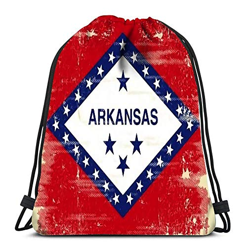 Hdadwy Drawstring Backpack Flag of Arkansas with Texture Durable for Carrying Around