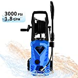 WHOLESUN 3000PSI Electric Pressure Washer 1600W 1.8GPM High Power Washer Machine with Spray Gun & 5 Nozzles(Blue)