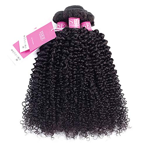 ISEE Hair Virgin Malaysian Deep Curly Jerry Curly Human Hair 3 Bundles,100% Unprocessed Human Curly Hair Extensions Natural Black Can Be Dyed 14inches