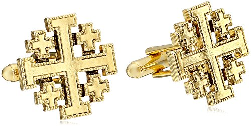 Symbols of Faith 'Inspirations' 14k Gold-Dipped Jerusalem Cross Round Cuff Links