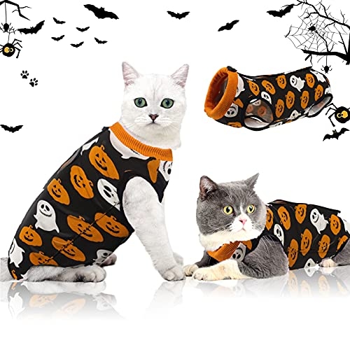 oUUoNNo Cat Halloween Pajamas,Cat Wound Surgery Recovery Suit for Abdominal Wounds or Skin Diseases, After Surgery Wear, Cat Halloween Costumes, E-Collar Alternative for Cats