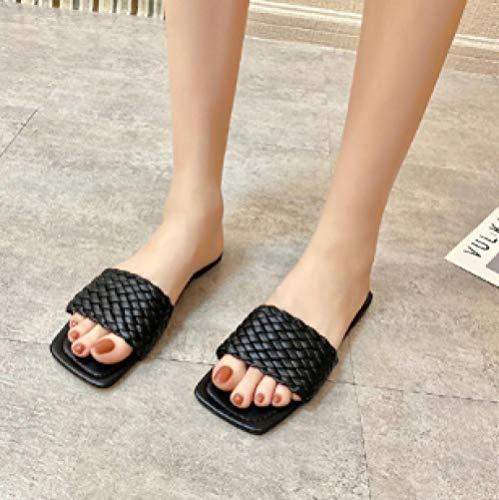 ypyrhh Zapatilla de Plataforma con cuña para Mujer,Sandalias cuadradas de Moda, Pantuflas de Fondo Plano de tacón bajo-Negro_38,Zapatillas de Estar por Casa de Mujer/Hombre