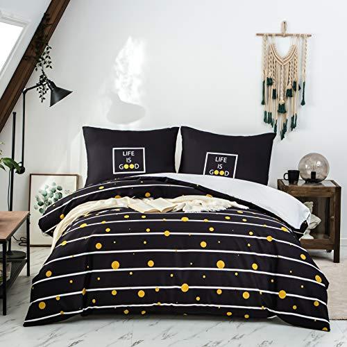 QZY Bettwäsche 200 x 200cm Super Weiche Mikrofaser Bettbezug 200x200cm mit Zwei 80x80cm Schwarz/Weiß und Streifen/Gelber Wellenpunkt