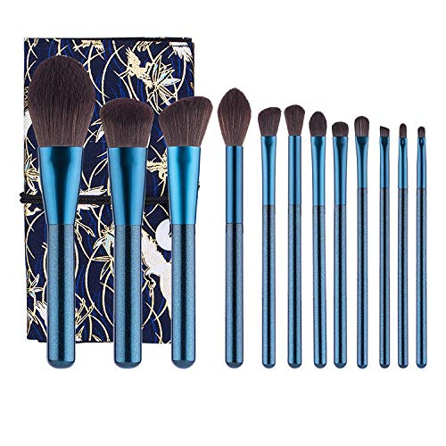MPKHNM 12 blue makeup brush small grape makeup brush set beauty makeup 12 blue + blue bottom crane bag