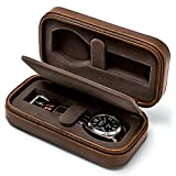 TAWBURY 2 Watch Travel Case – Watch Carrying Case for Traveling Watch Case Zipper Watch Pouch Travel Watch Cases for Men | Vegan Leather Watch Case Travel | 2 Watch Box Portable Watch Travel Cases for Men