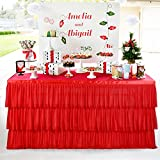 HBBMAGIC Falda de Mesa de Tul con Volantes de 3 Niveles Que bordean el rectángulo o la Mesa Redonda,Falda Elegante de Mesa de Tul para Fiesta,Boda,cumpleaños,Navidad,decoración de Mesa de celebración