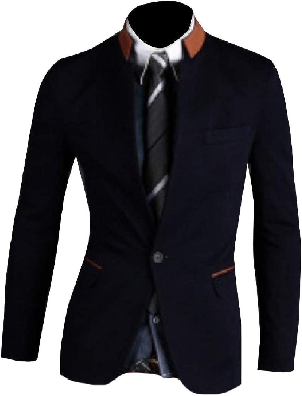 Abetteric Men's Stand Up Collar Blazer Blazer Blazer Casual Single Button Contrast Coats 0c5598