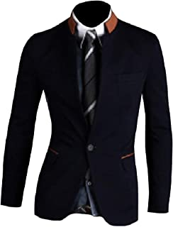Abetteric Men's Stand Up Collar Blazer Casual Single Button Contrast Coats