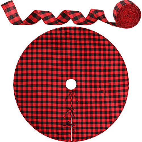 Falda de Árbol de Navidad a Cuadros Rojos y Negros de Búfalo Almohadilla de Árbol de 48 Pulgadas con Cinta a Cuadros Roja y Negra de 32,8 feet para Decoración Navideña de Casa