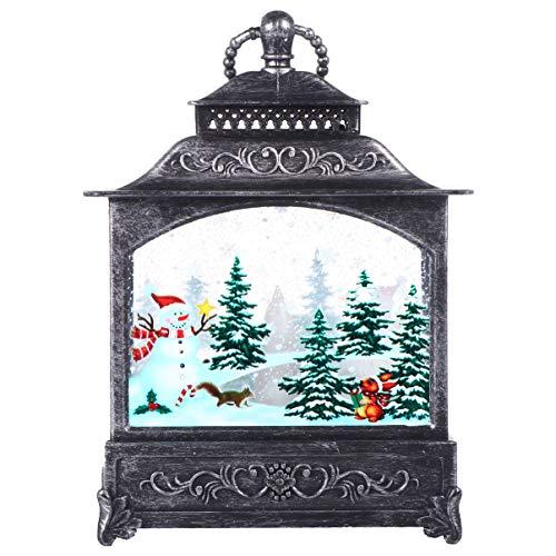 TOYANDONA Beleuchtete Dekorative Weihnachten Schneekugel Wasserlaterne Weihnachten Hängende Laterne für Weihnachten Hauptdekoration (Silber)