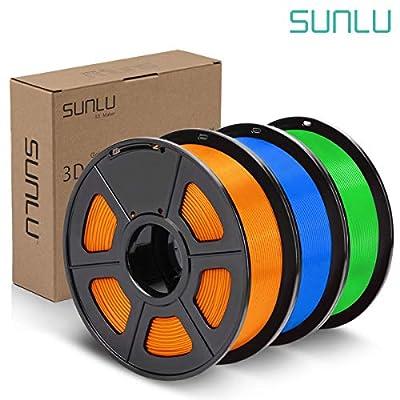 SUNLU PLA Plus Filament 1.75mm 3D Printer 3D Pens 3KG PLA+ Filament +/- 0.02 mm,Orange+Blue+Green