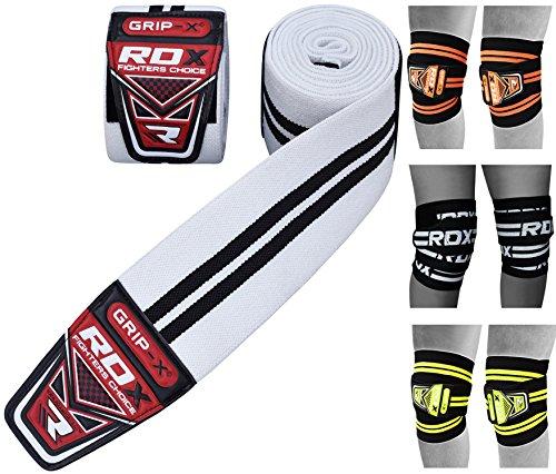 RDX Ginocchio Bandage PowerLifting Ginocchiere Support Tutore | Approvato da IPL e USPA | Pesistica Cinghie Fascia Gym Pad | Grande per Allenamento della forza, Bodybuilding, Ginnastica, Xfit Exercise