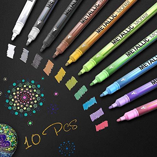TOPERSUN 10PCS Rotuladores Metálicos de Punta Media Rotuladores de Colores para Hacer Tarjetas Scrapbooking Foto de bricolaje Piedra de papel del álbum