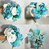 Aqua Turquoise White Rose Tiger Lily Bridal Wedding Bouquet Accessories