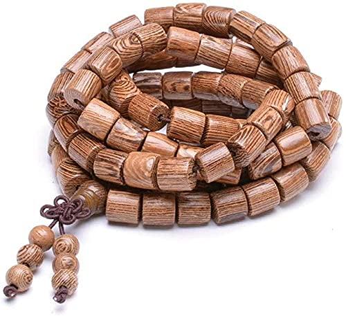 PPQKKYD Collar Collar de Yoga de Cuentas de Mara de Madera Natural, Collar de oración con Colgante de Buda para Hombre de la Suerte, Collar de 8mm 108 Mara, joyería de Cadena elástica para Mujer