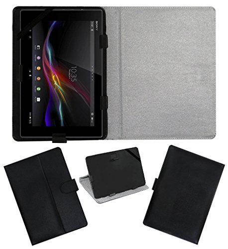 ACM Leather FLIP Flap Tablet Holder Carry CASE Stand Cover Compatible with Sony Tablet Z Black