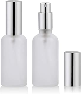 2oz Glass Spray Bottles for Essential Oils, Perfume Atomizer, Fine Mist Spray,Refillable, Empty, Frosted (2 Pack)