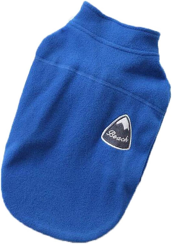 Dog clothes Solid color Zipper Coat Pet Dog Sweatshirt Cotton coat,bluee,L