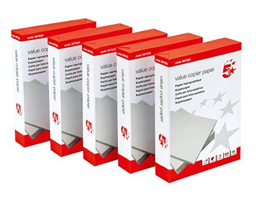 5 Star Büro-Kopierpapier multifunktional eingeriest 80 g/m² A4 1 Kiste mit 5 Ries à 500 Blatt weiß