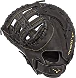 """Mizuno GXF50FP MVP Prime Fastpitch Softball First Base Mitts, 13"""", Left Hand Throw, Worn on Right Hand, Black"""