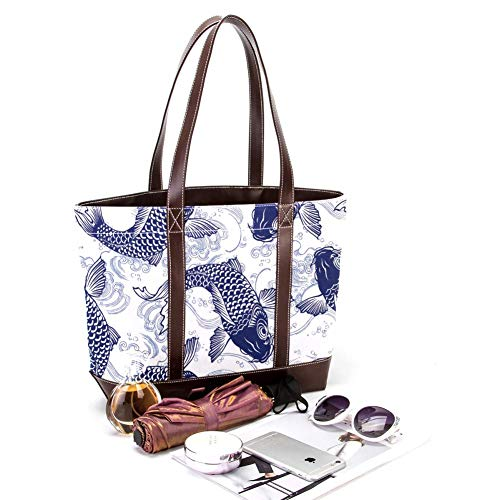 Jessgirl Bolsos de cuero de lona de moda para mujer, bolso de mano con asa superior, bolso de mano para mujer, bolsos de trabajo, patrón de carpa verde azulado